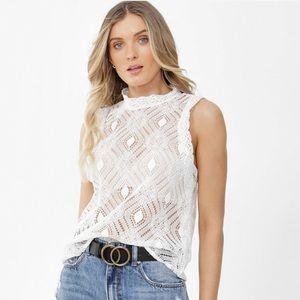 ZARA sleeveless crochet lace top light ivory
